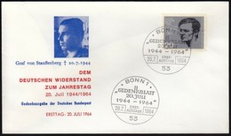 Germany Bonn 1964 / German Resistance, Attentat Auf Adolf Hitler, Graf Schenk Von Stauffenberg / FDC - FDC: Enveloppes