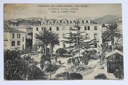 PENSION DES ETRANGERS HOTEL, CORSO GARIBALDI, SAN REMO, ITALIA ITALY, Old Advertising Card - Picture Cards