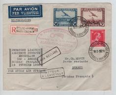 REF288/ TPA 1-4 TP 428 S/L.Avion Recommandée C.BXL Aéroport 18/2/38 1er Liaison BXL Gao Bamako Retour - Marcophilie
