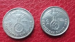 GERMANY 2 ReichMark 1938 A , 1938 B Silver Coins - [ 4] 1933-1945 : Tercer Reich