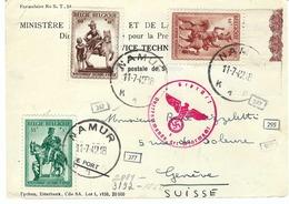BELGIQUE 1942:  Lettre Avec Les Y&T 563, 564 Et 566 Et Censure Allemande De Namur Pour Genève - Belgium