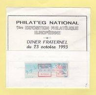 Euro Philat'eg Strasbourg - 1993 - Sur Menu - Marcophilie (Lettres)