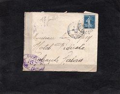 LAC 1918 - CENSURE - Controle Postal Militaire -Ouvert Par Autorité Militaire 157 - Lettre Pour Finhaut Valais - Suisse - Postmark Collection (Covers)