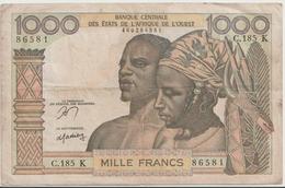 WEST AFRICAN STATES P. 703Kn 1000 F 1965 F/VF - Sénégal