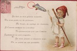 CPA Chromo Decoupi Gesneden 1er Avril Poisson D' Aprilvis April CPA Carte Fantaisie Fantasie - Enfants