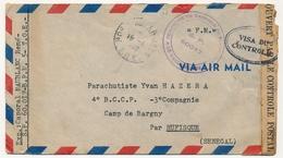 """Env. Cachet """"Compagnie De Garnison De Tananarive SP 60017"""" 1949 Pour Sénégal, Censure """"Visa Du Contrôle"""" - Marcophilie (Lettres)"""