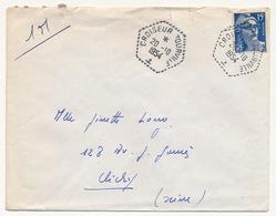 """FRANCE - Env. Affr 15 F Gandon - Oblit Hexagonale Tiretée """"CROISEUR TOURVILLE"""" 1954 - Marcophilie (Lettres)"""