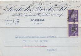 ISERE CP 1943 GRENOBLE GARE => MARNE GRIFFE LINEAIRE EPERNAY MIS EN ARRIVEE SUR TIMBRE NON OBLITERE AU DEPART - Marcophilie (Lettres)