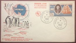 TAAF01 Kerguélen Yves Joseph Marie Trémarec 18 Archipel Kerguélen 21/11/1960 FDC Premier Jour Lettre - FDC