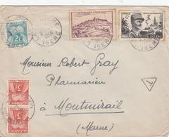 MARNE ENV 1948 TAXE A MONTMIRAIL SUR ENV ORIGINE ISERE LA TRONCHE - Poststempel (Briefe)