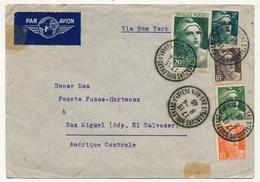 FRANCE - Env Affr 20f Gandon Grand Format + 2f + 3F + 5f + 10f - 1946 (Strasbourg Pour El. Salvador) - 1945-54 Marianne De Gandon