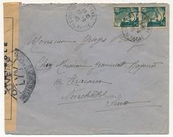 "FRANCE - Env Affr 2f Gandon X2 - 1945 - Censure ""Ouvert... LYY..."" - 1945-54 Maríanne De Gandon"