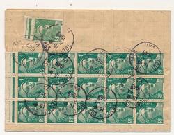 FRANCE - Feuille Pliée Recommandée AR Depuis Toulon - Affr 5f Gandon = Bloc 20 X4f - 1945 - 1945-54 Marianne De Gandon