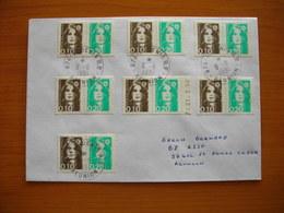 Réunion : Pli Affranchi Avec Marianne De Briat N° 2617A (paire 0,10 Et 0,20 F) X 7 Exemplaires. Côte Maury : 140 Euros. - Reunion Island (1852-1975)
