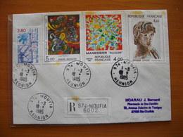 Réunion : Lettre Recommandée Affranchie Avec France Maury N° 2174, 2213, 2214 Et 2349 Du Moufia  Pour Ste Clotilde - Reunion Island (1852-1975)