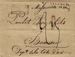 """1821 - Lettre De Munich ( Bavi§re ) Pour Beaune - Entrée """" ALLEMAGNE /PAR/STRASBOURG """" Noir - Poststempel (Briefe)"""