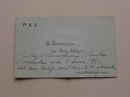 P A X De BENEDIKTIJNEN Der ABDIJ AFFLIGEM (PAX) ( Met Texte / Beschreven > Zie / Voir Photo ) ! Anno 1921 - Visiting Cards