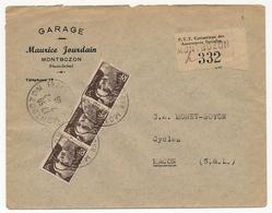 FRANCE - Env. Affr 3f Gandon Brun (bande De 3) Recommandé Provisoire De MONTBOZON Hte Saône 1946 - 1945-54 Marianne Of Gandon
