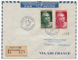 FRANCE - Env. Affr 20f + 50f Gandon GF - 1952 - Au Dos Vignette AIR FRANCE Par Voyage France Antilles ... - Poste Aérienne