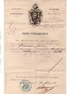 """BATEAU . VILLE DU HAVRE . PERMIS D'EMBARQUEMENT SUR LE NAVIRE """" LABRADOR """" ALLANT AUX ANTILLES - Réf. N°24307 - - Barche"""