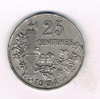 25 CENTIMES 1904 FRANKRIJK /1003/ - F. 25 Centimes