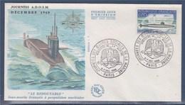= Journée Des Oeuvres Sociales De La Marine Ministère De La Marine Paris 6-7 Déc 1969 N°1615 Sous Marin Le Redoutable - Commemorative Postmarks