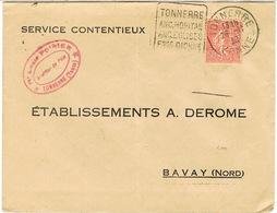 DAGUIN DE TONNERRE SUR LETTRE PERFORATION AD DEROME - Marcophilie (Lettres)