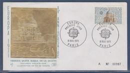 = Europa Basilique De La Salute à Venise, Illustration Or Fin Enveloppe 1er Jour N°1676 Paris 8 Mai 1971 - FDC