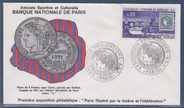 = Exposition Philatélique Banque Nationale De Paris 16-17.1.71 Par Le Timbre Et L'oblitération 1659 Emission De Bordeaux - Storia Postale