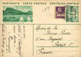 Entier Postal HELVETIA 10 + Timbre 10  HOFNERLANDCHEN A ETZEL  + Beau Cachet  FARVAGNY LE GRAND (FRIBOURG)    RV - Entiers Postaux