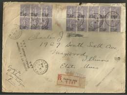 20/01 Lettre Paris 109 Montaigne USA 16 Semeuse Surchargee Maywood Chicago Illilois Douane Custom 1927 Tarif 8 Francs - Posttarife