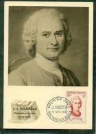 CM-Carte Maximum Card # 1956-FRANCE #Célébrités # Jean-Jacques Rousseau,Écrivain,philosophe # Author # Montmorency - Maximumkarten