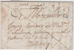 MANCHE LAC 1817 P.48.P. / VALOGNES BLEU INDICE 13 COTE 110 EUROS DIMENSIONS 38MM X 11MM - 1801-1848: Precursores XIX