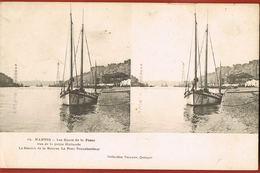 CARTE STEREOSCOPIQUE-NANTES- Les Quais De La Fosse- La Station De La Bourse- Le Pont Transbordeur- Scans Recto Verso - Stereoscope Cards