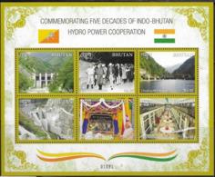 BHUTAN, 2019, MNH, INDO-BHUTAN HYDRO POWER COOPERATION, MOUNTAINS, SHEETLET - Acqua