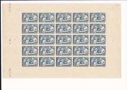 Feuille Complète Du N°498 Secours National 2f50+7f50 Bleu . - Volledige Vellen