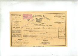 Quittance Paiement  Assurance Chevaux Et Voitures 1919 Le Mans - Banca & Assicurazione