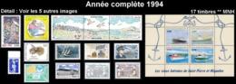 ST-PIERRE ET MIQUELON Année Complète 1994 - Yv. 592 à 608 ** MNH  Faciale= 9,68 EUR - 17 Timbres  ..Réf.SPM11749 - St.Pierre & Miquelon