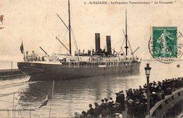 """Saint-Nazaire Très Animée Le Paquebot Transatlantique """"La Normandie"""" De 1883 - Saint Nazaire"""