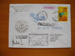 """Réunion : 2 Plis Du Marion Dufresne Au Départ Du Port (1993-2000) Avec Nombreux Cachets Dont """"Aumonerie Catholique..."""" - Réunion (1852-1975)"""