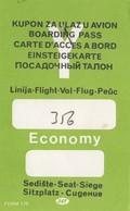 JAT Yugoslav Airlines Boarding Pass Zagreb Airport - Instapkaart