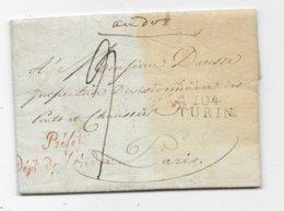 DEPARTEMENT CONQUIS ITALIEN Lettre 1807  Cachet 104 / TURIN Et Franchise PREFET - Storia Postale