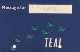 TEAL Tasman Empire Airways Australia Flight Informations Message For Passenger, Stationery - Papiere
