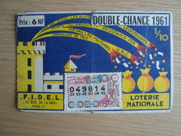 BILLET DE LOTERIE DOUBLE-CHANCE 1961 - Billets De Loterie