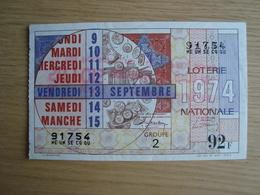 BILLET DE LOTERIE VENDREDI 13 SEPTEMBRE 1974 - Billets De Loterie