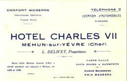 D18  MEHUN SUR YÈVRE  Note De L'Hôtel Charles VII  .............format 8 X 12 Cm Ce N'est Pas Une Carte Postale - Mehun-sur-Yèvre