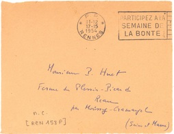 P. P. RENNES 1954 Oblit. Secap Frankers : PARTICIPEZ A LA SEMAINE DE BONTE, Port Payé - Marcophilie (Lettres)