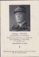 Avis De Décès Du Maréchal Pétain - 1951 - Documents