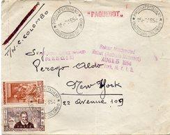 """ITALIE : AFFRT à 125 L . PAR PAQUEBOT . """" C . COLOMB """" . POUR NEW -YORK . REEXPEDIEE . 1954 . - 6. 1946-.. Repubblica"""