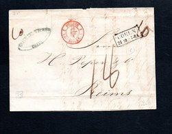 Lettre Avec Cachet Coeln Noir Et Prusse 2 Valenciennes Rouge Pour Reims - Postmark Collection (Covers)